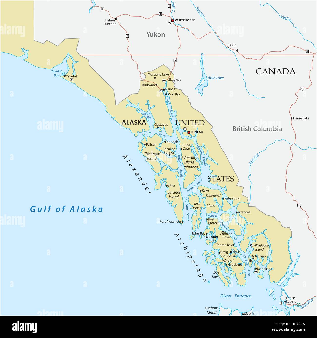 Map of panhandle in the united states alaska alexander map of panhandle in the united states alaska alexander archipelago sciox Images