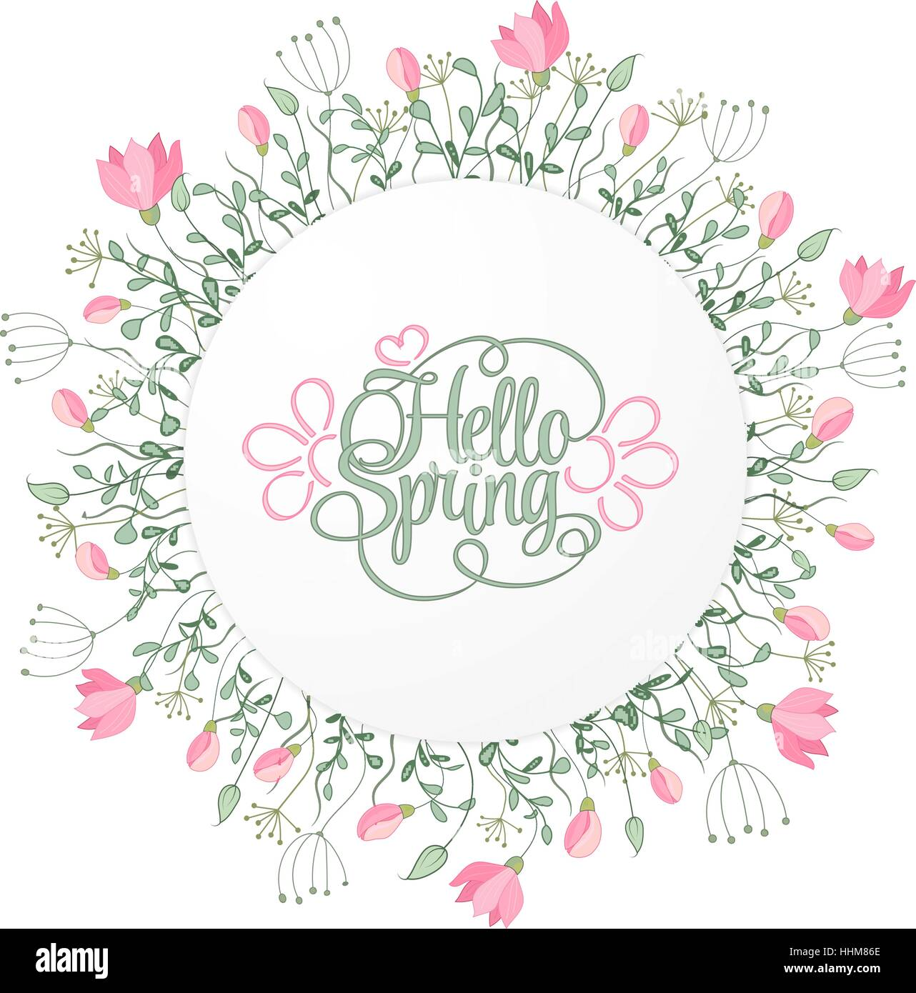 Spring hand draw round frame with gentle pink flowers leaves and spring hand draw round frame with gentle pink flowers leaves and herbs botanical vector illustration hello spring invitation card stopboris Image collections
