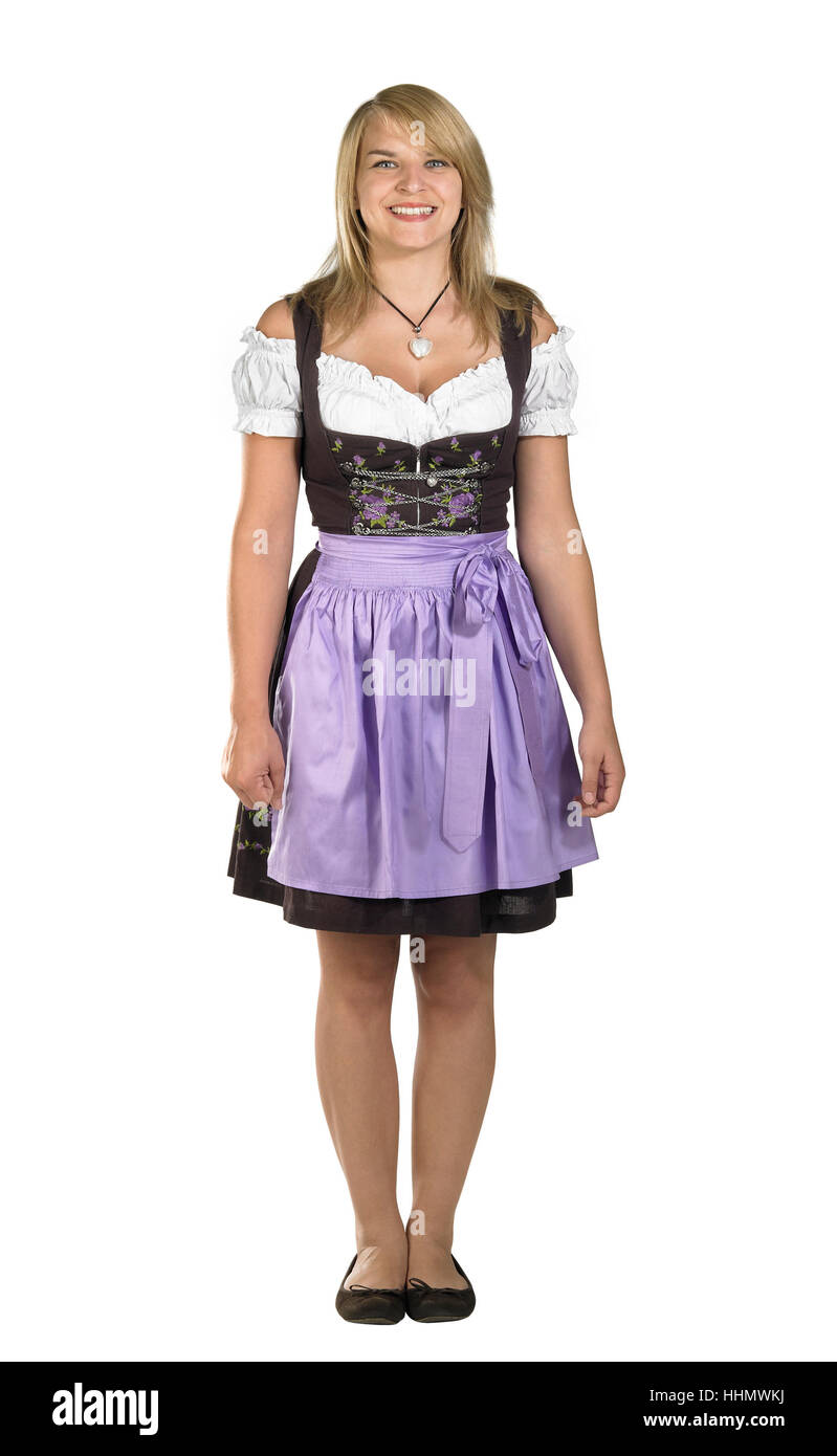 woman, shy, bavarian, dirndl, young, younger, blond, suit, woman ...
