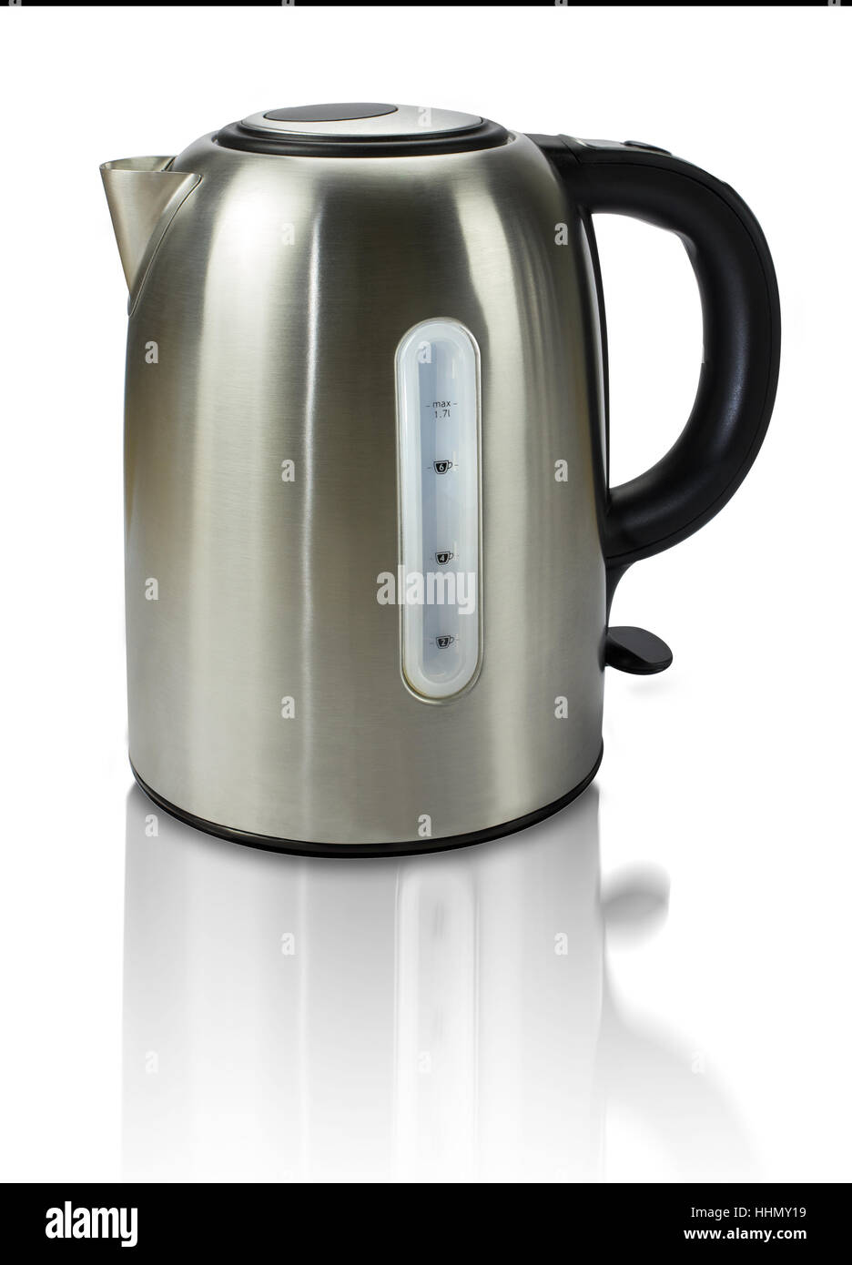 modern electric kettle with reflections isolated on white  - modern electric kettle with reflections isolated on white background
