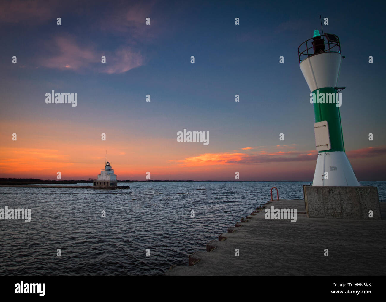 A Lake Michigan Sunset On The Sout Pier In Manitowoc, Wi Stock ...