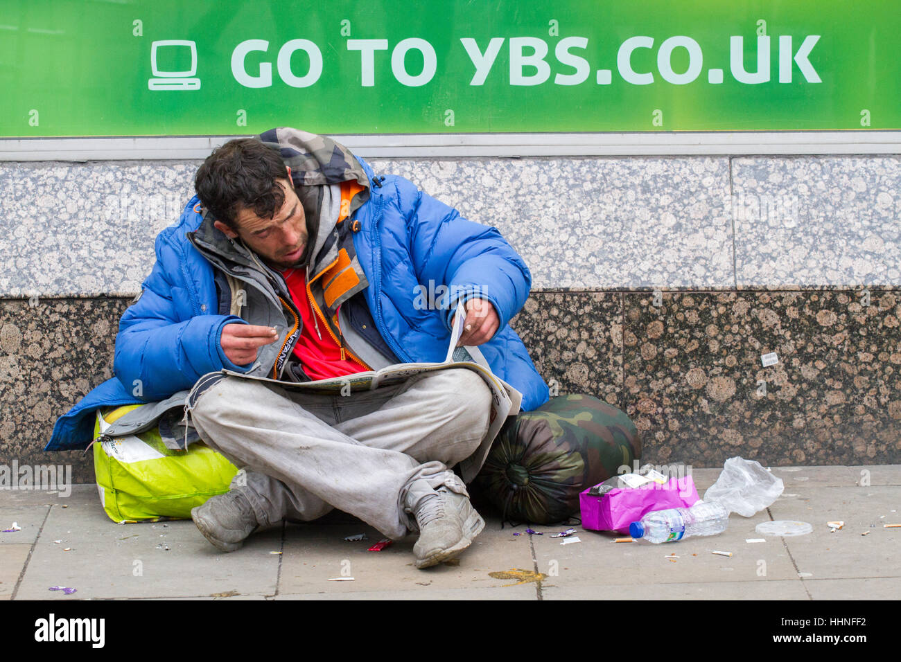 homeless people on the streets of manchester city centre