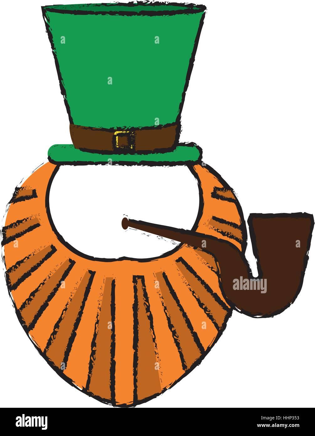 cartoon st patrick day leprechaun beard hat and tobacco pipe stock