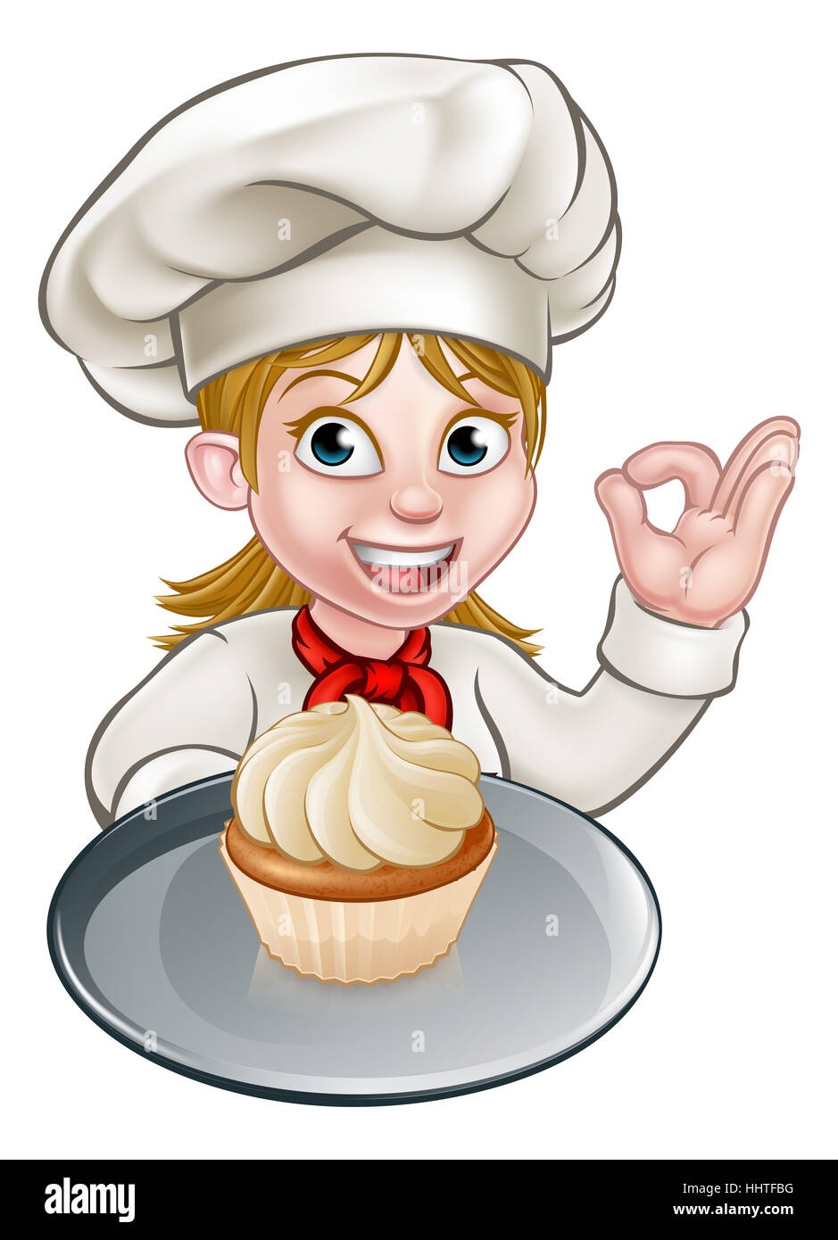 A Woman Chef Or Baker Cartoon Character Holding A Plate With A Cupcake Hhtfbg