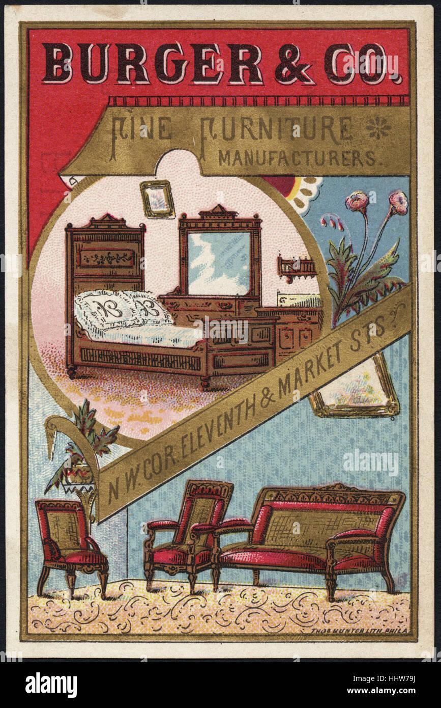 Burger U0026 Co., Fine Furniture Manufacturers. N. W. Cor. Eleventh U0026 Market  Sts. (front)   Home Furnishings Trade Cards