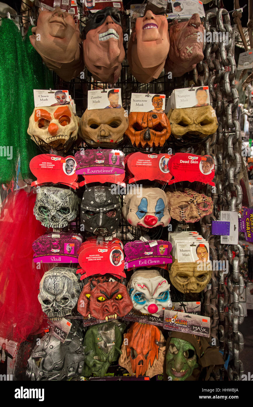 Face masks for sale at at a large costume store in Greenwich ...