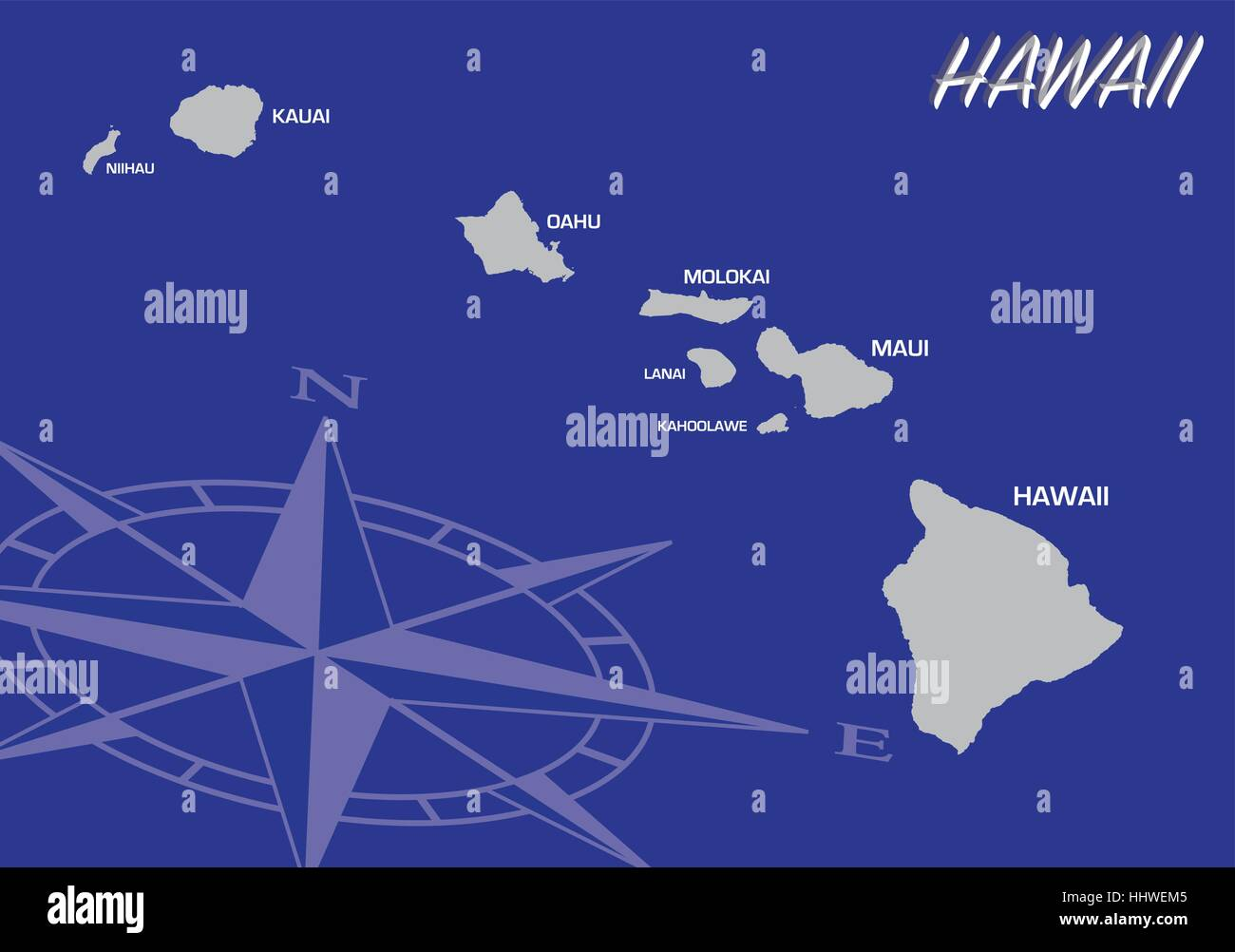 Blue Vector Map Of Us State Of Hawaii With Compass Stock Vector - Us map w compas