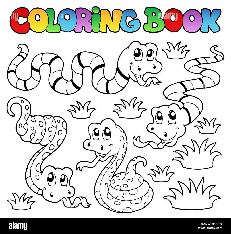 Colour book art - Stock Photo Colour Animal Snake Paint Painted Snakes Colouring Book Art Colour