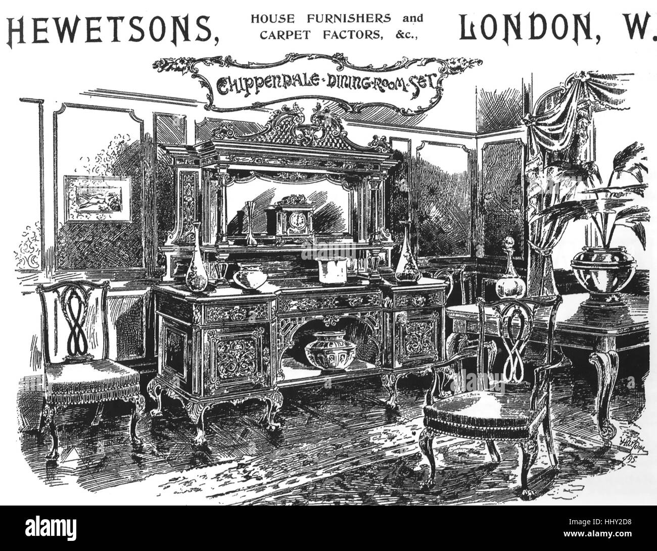 HEWETSON S FURNISHERS Advert about 1890 for the Tottenham Court Road   London  home furnishing company. HEWETSON S FURNISHERS Advert about 1890 for the Tottenham Court