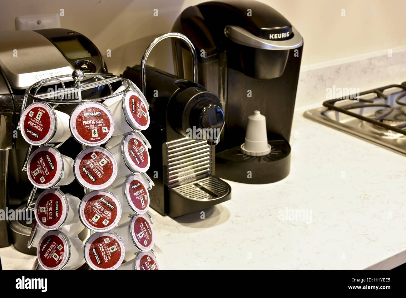 keurig coffee machine and coffee pods in a modern kitchen - Keurig Coffee Pods