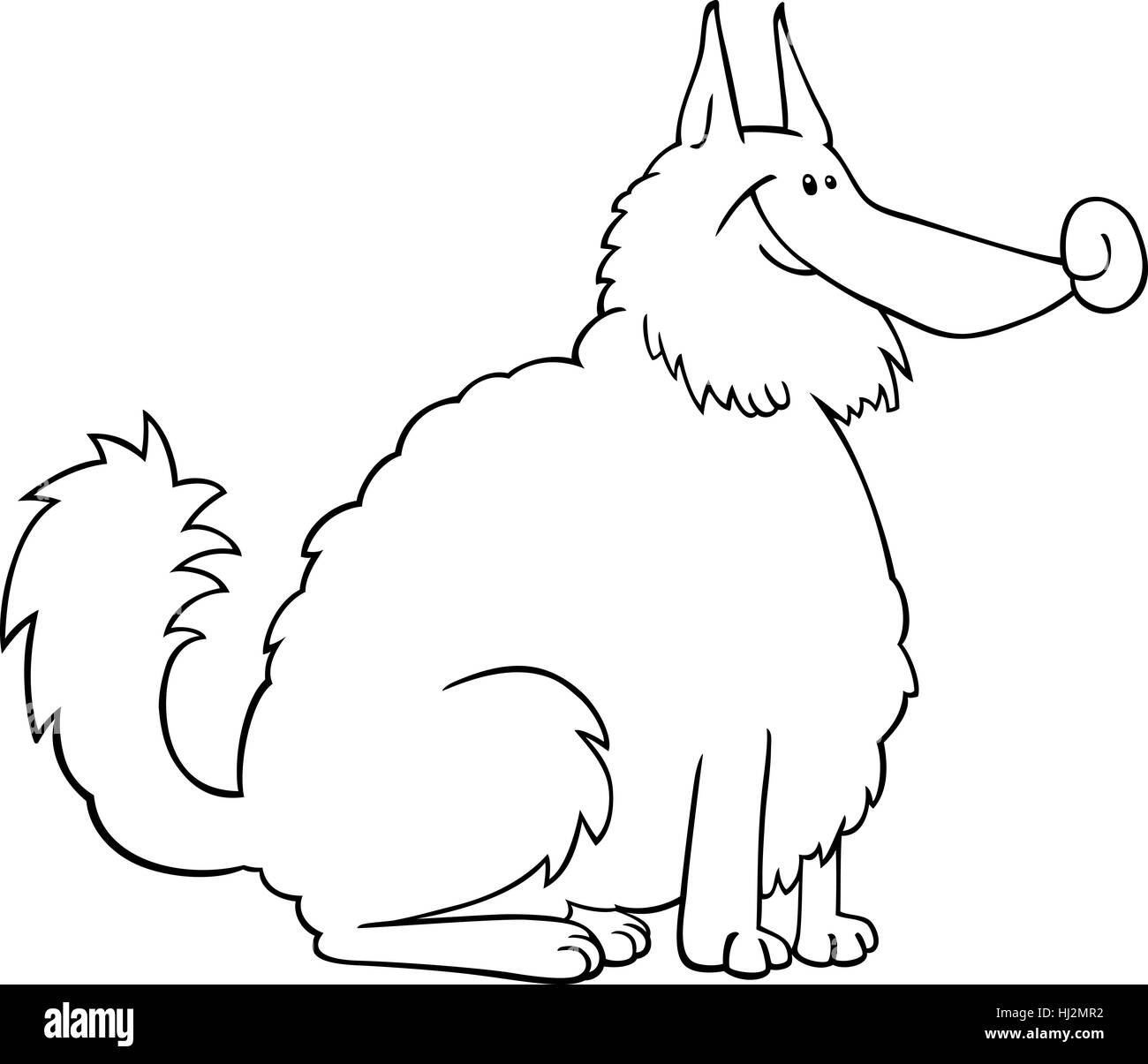 black and white cartoon illustration of shaggy purebred eskimo dog