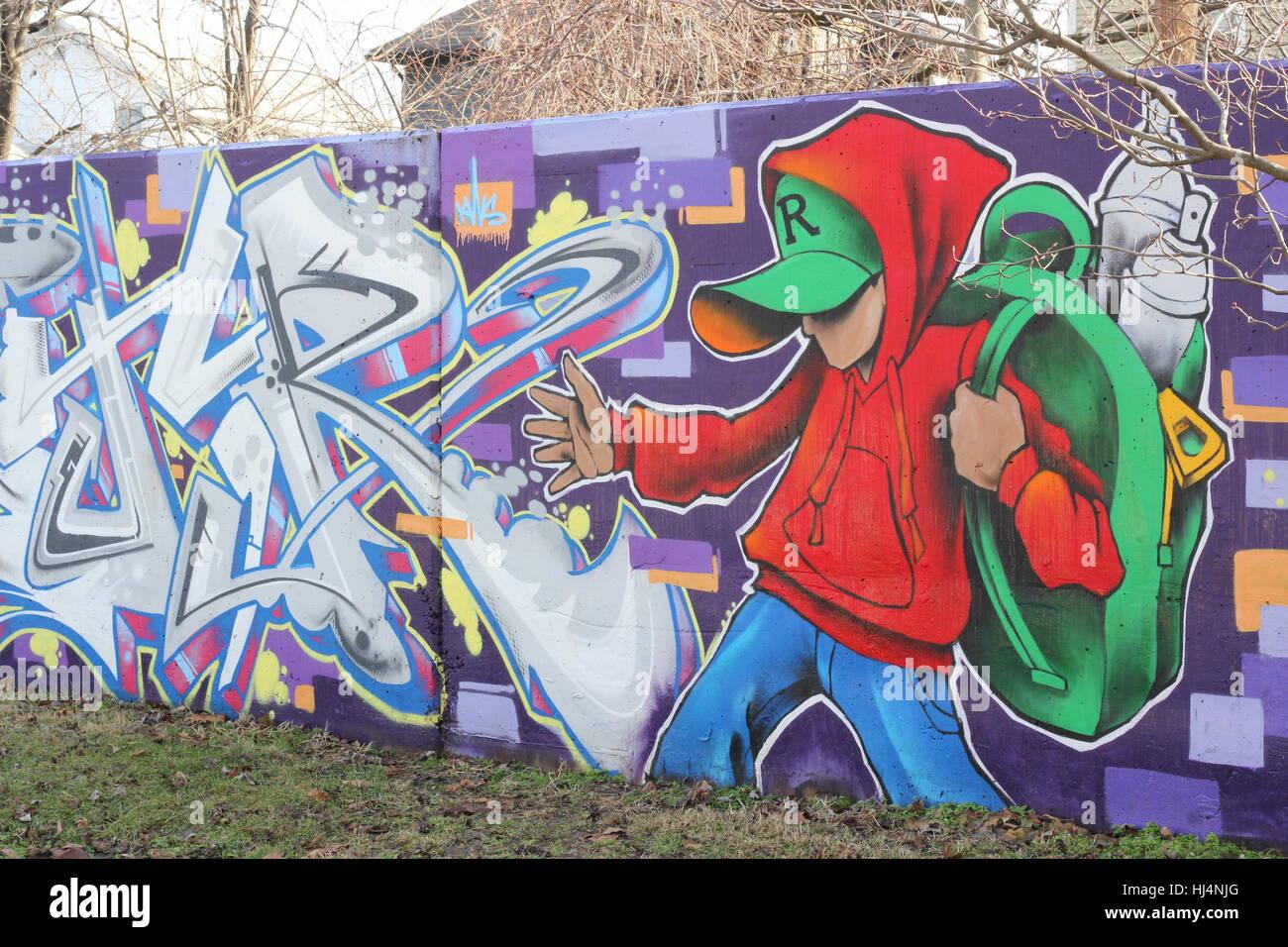 Graffiti wall usa - Graffiti Painted On A Wall Along The Rivergreenway In Fort Wayne Indiana Usa