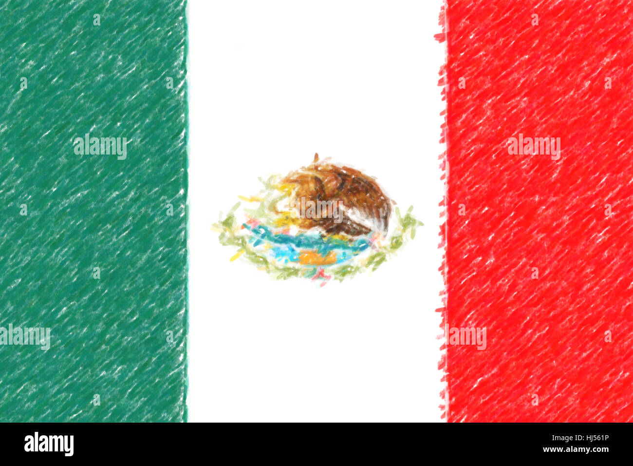 flag of mexico background o texture color pencil effect stock