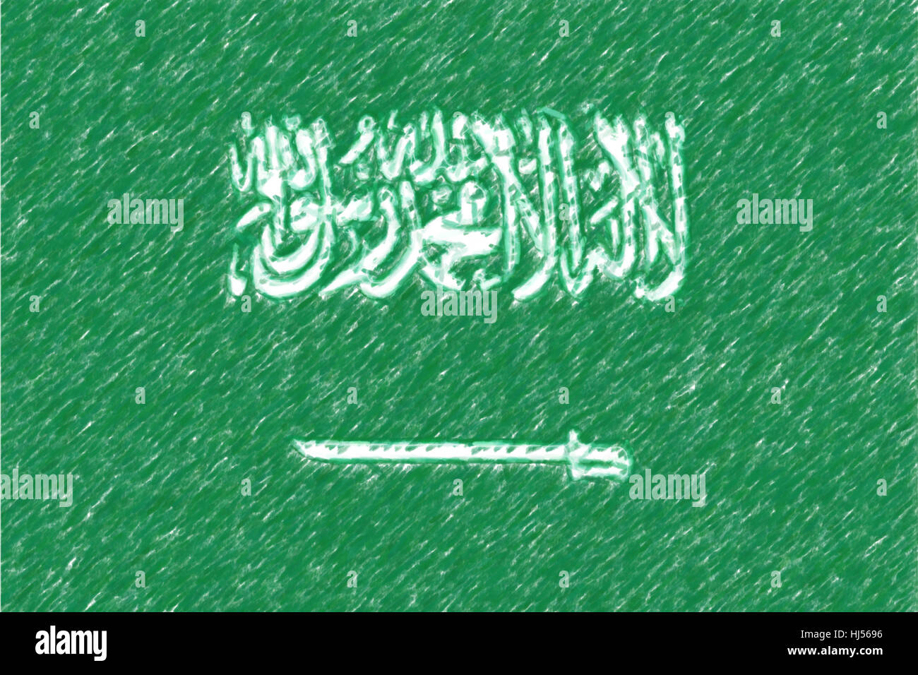 Flag of Saudi Arabia background o texture, color pencil effect Stock ...