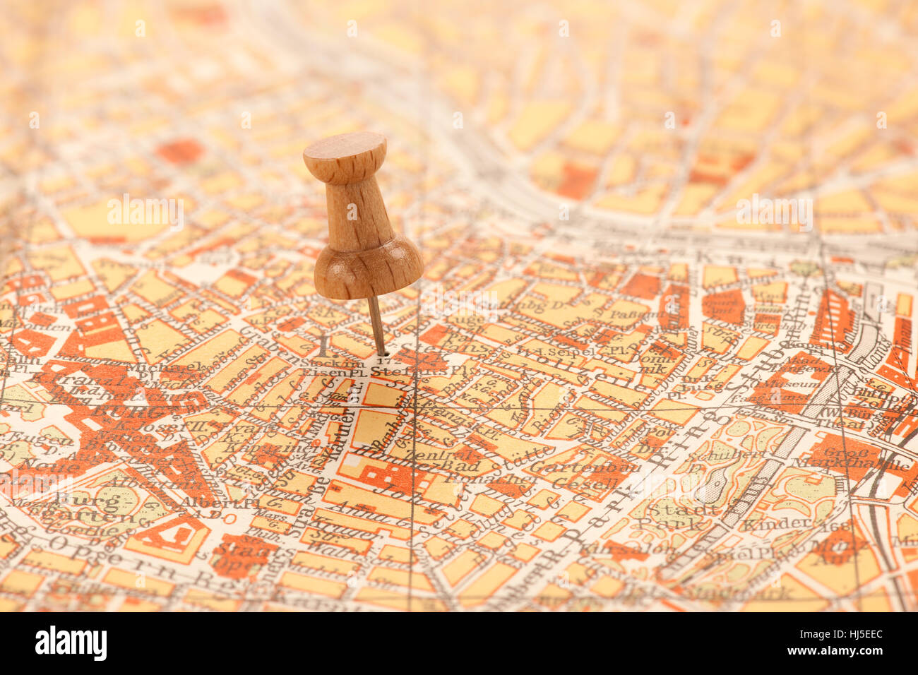 Vienna Austria Europe Pushpin Thumbtacks Yellowed Old Map - Austria europe map