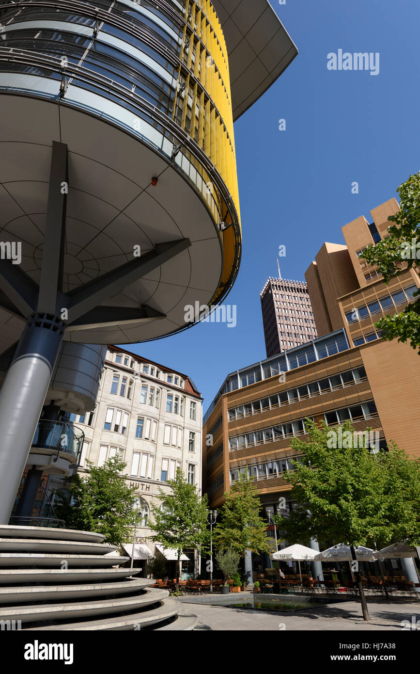 high tech modern architecture buildings. haus huth 1912 on fontaneplatz linkstrae dwarfed by high tech modern architecture potsdamer platz buildings