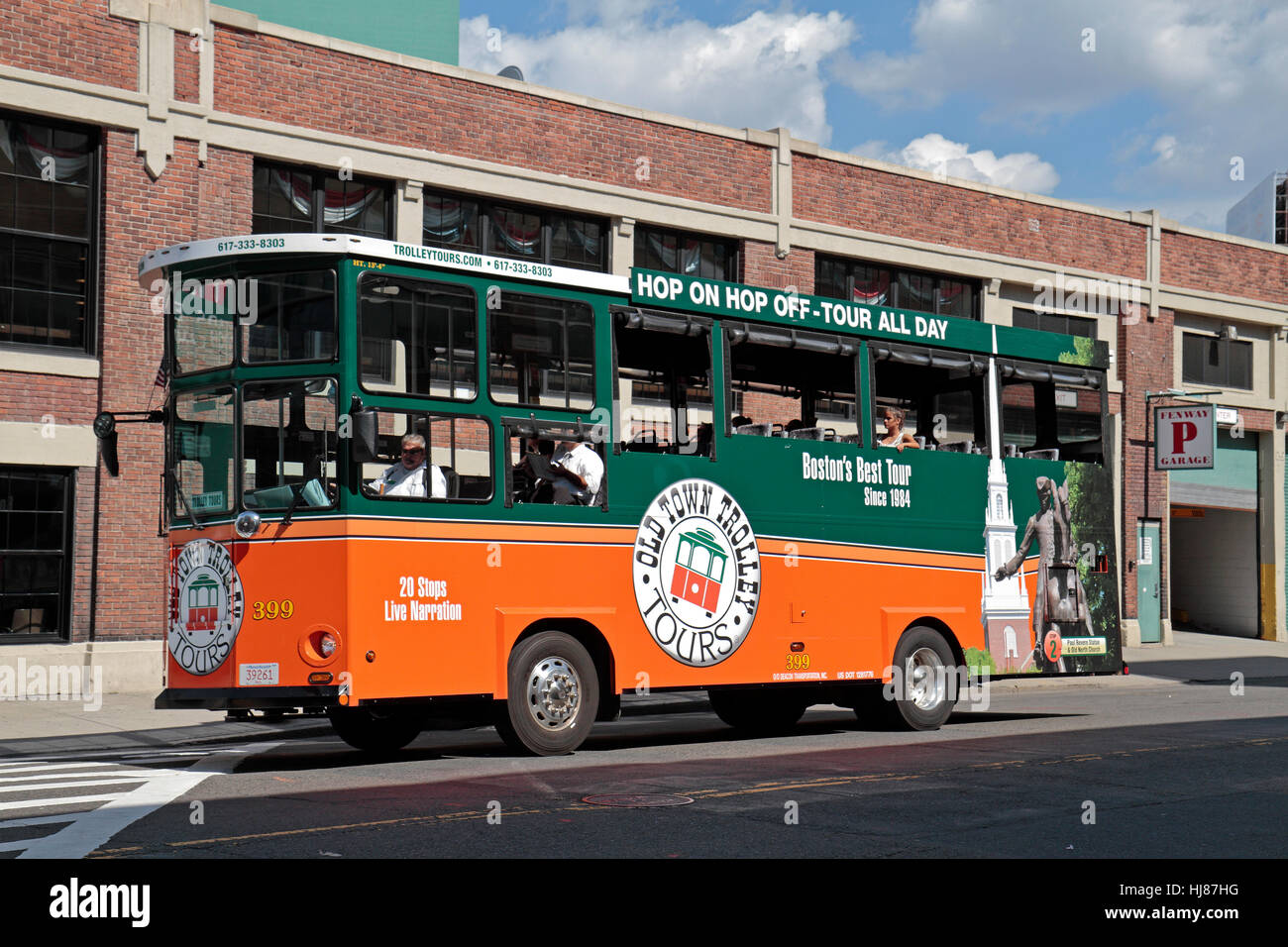 An Old Town Trolley Tours Bus Outside Fenway Park Home Of The Boston Red Sox MA United States