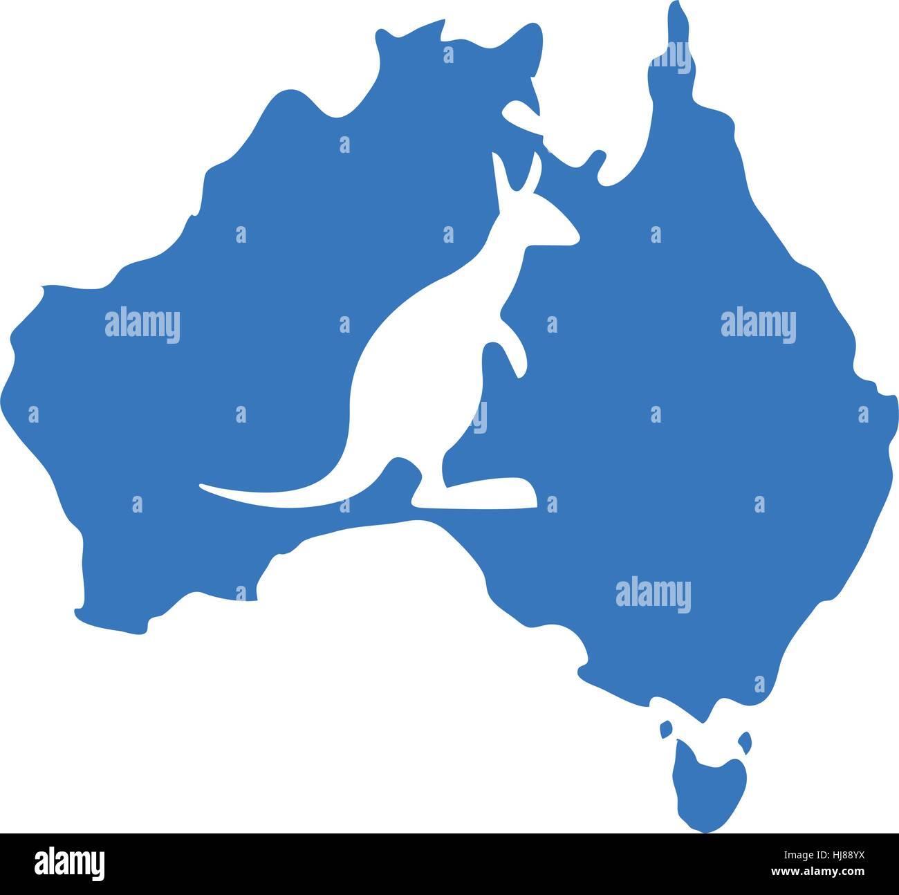 Blue Map Australia With Silhouette Kangaroo Vector Illustration - Australia map kangaroo