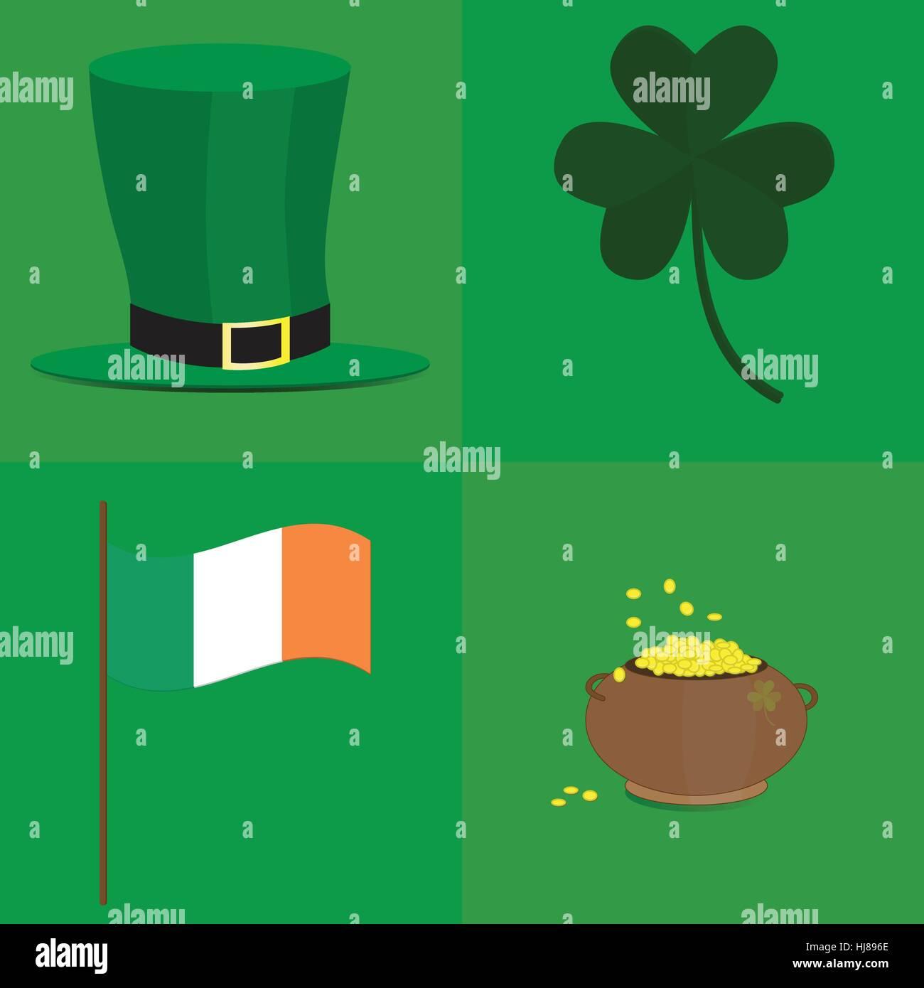 Leprechaun hat pot of gold shamrock and irish flag on green stock leprechaun hat pot of gold shamrock and irish flag on green background picture biocorpaavc Gallery