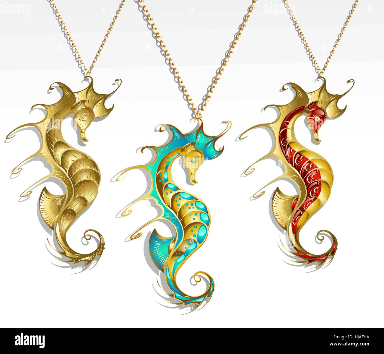 three gold jewelry inlaid seahorse turquoise and red paint with a