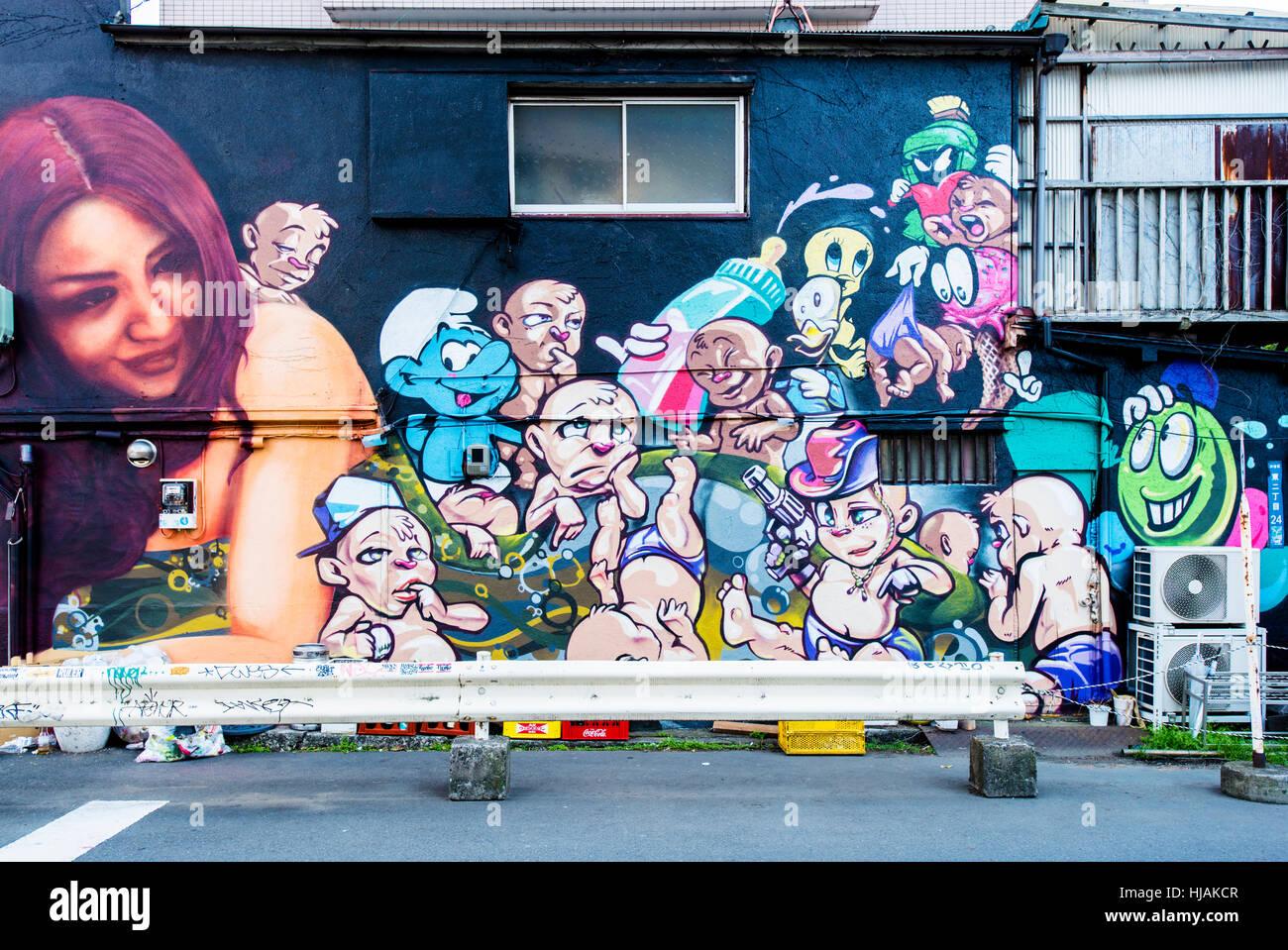 Graffiti wall tokyo - Stock Photo Wall Graffiti In Shibuya Tokyo