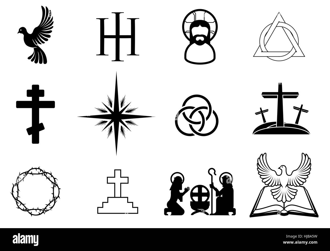 a set of christian religious signs and symbols stock photo