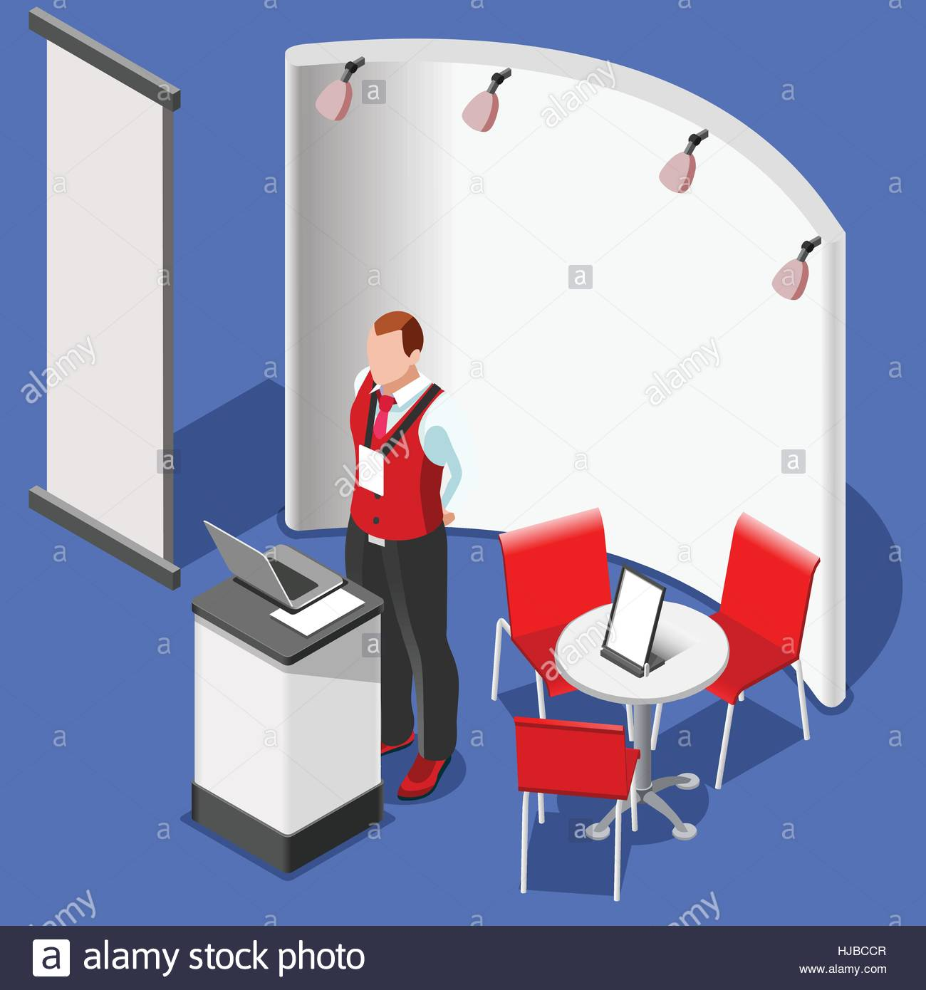 Exhibition Booth Icon : Exhibition booth stand desk roll up display panel d