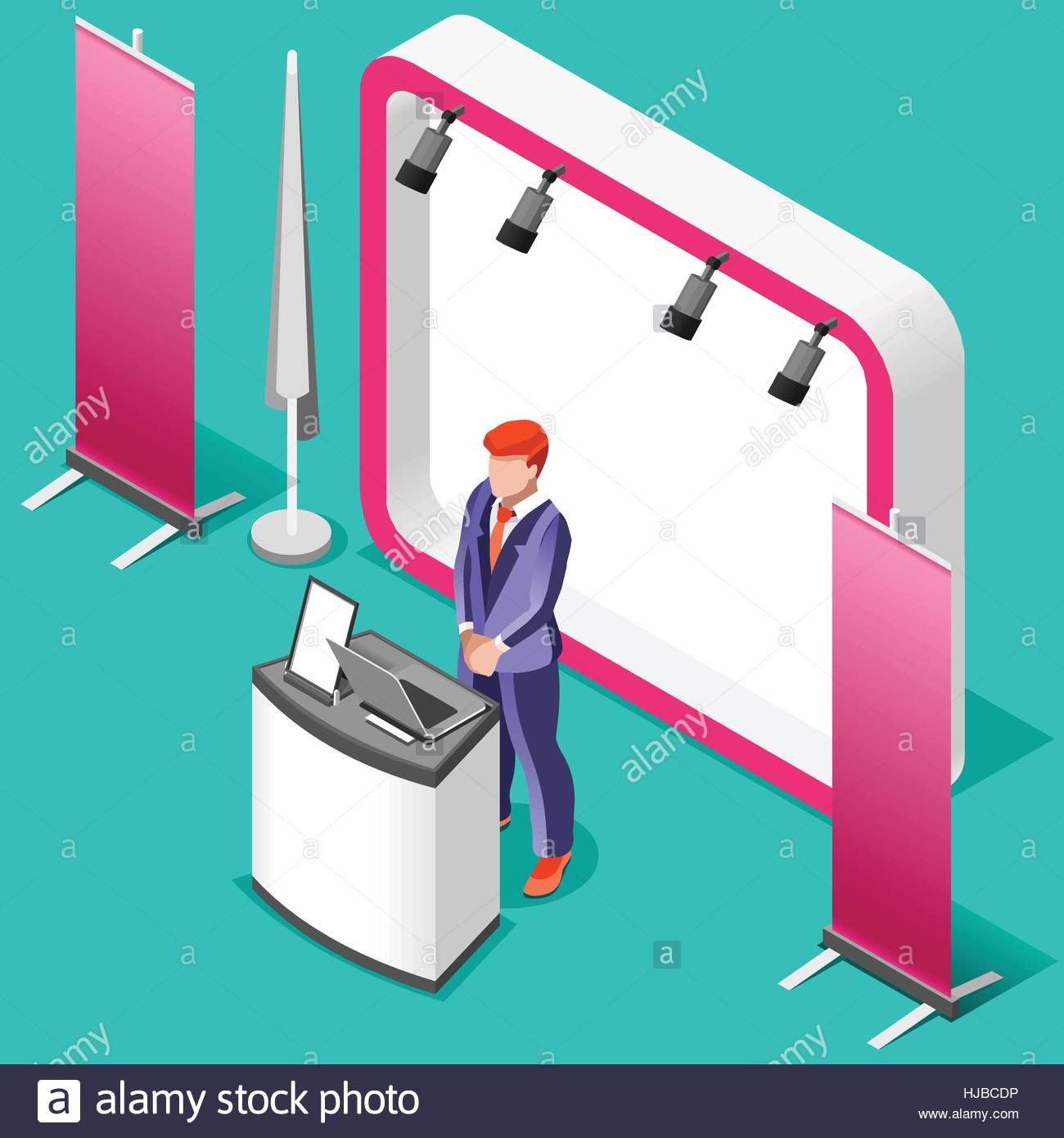 Exhibition Stand Icon : Exhibition booth stand desk roll up display panel d