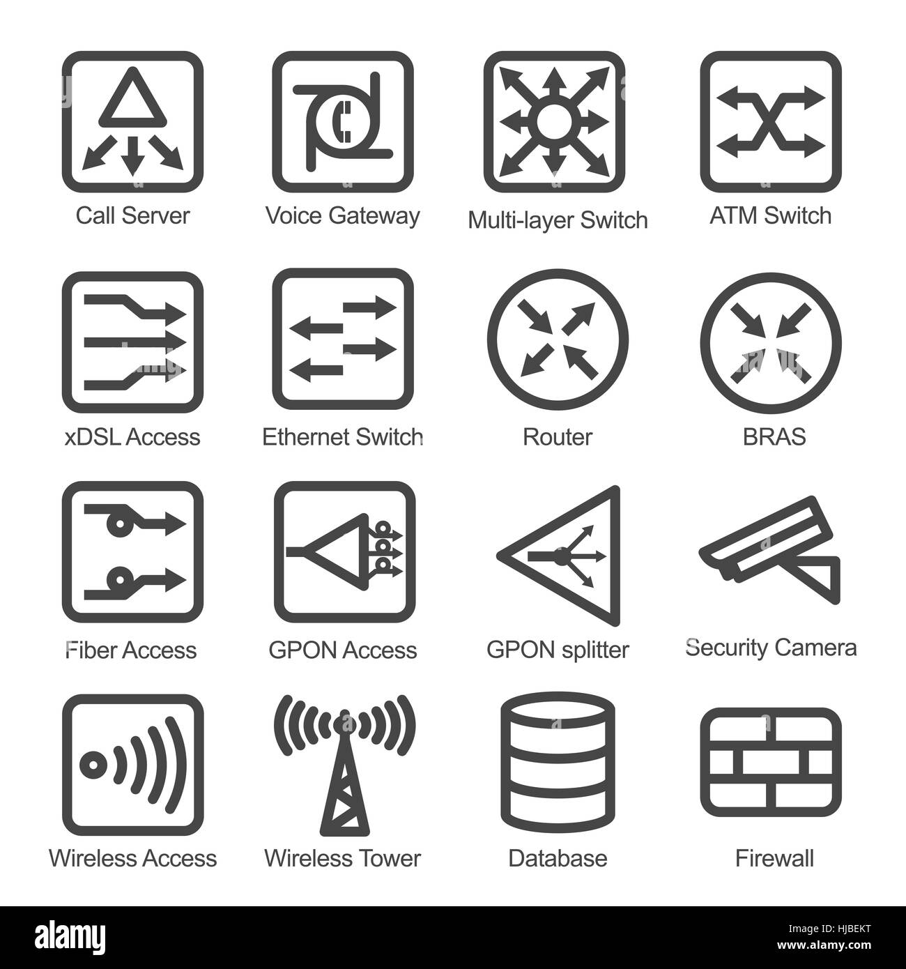 Network Equipment Icons : Network equipment icon set isolated vector illustration