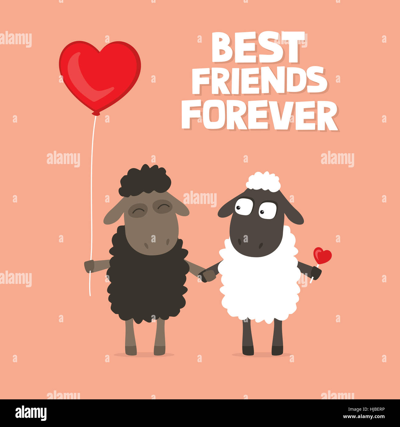 valentines day card with cute cartoon sheep holding hands with text saying best friends forever on a pink background with heart shaped balloon