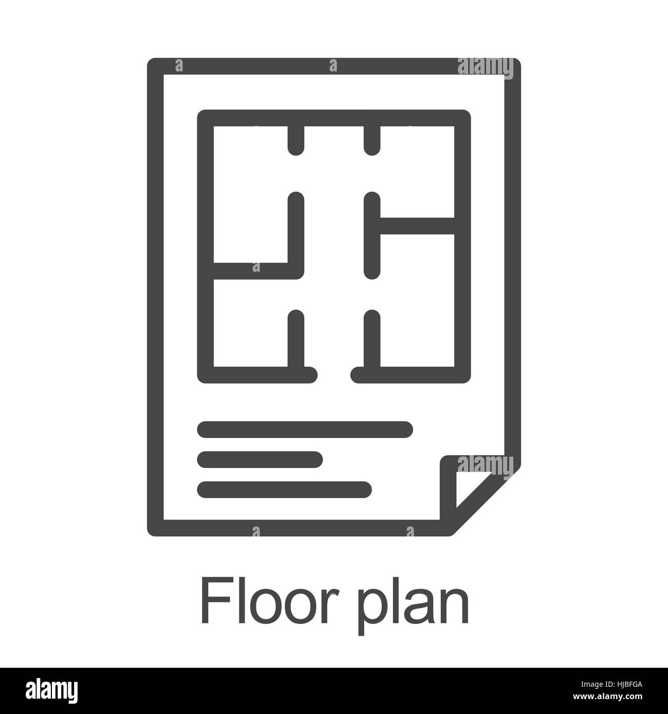 flat floor plan icon stock vector art illustration