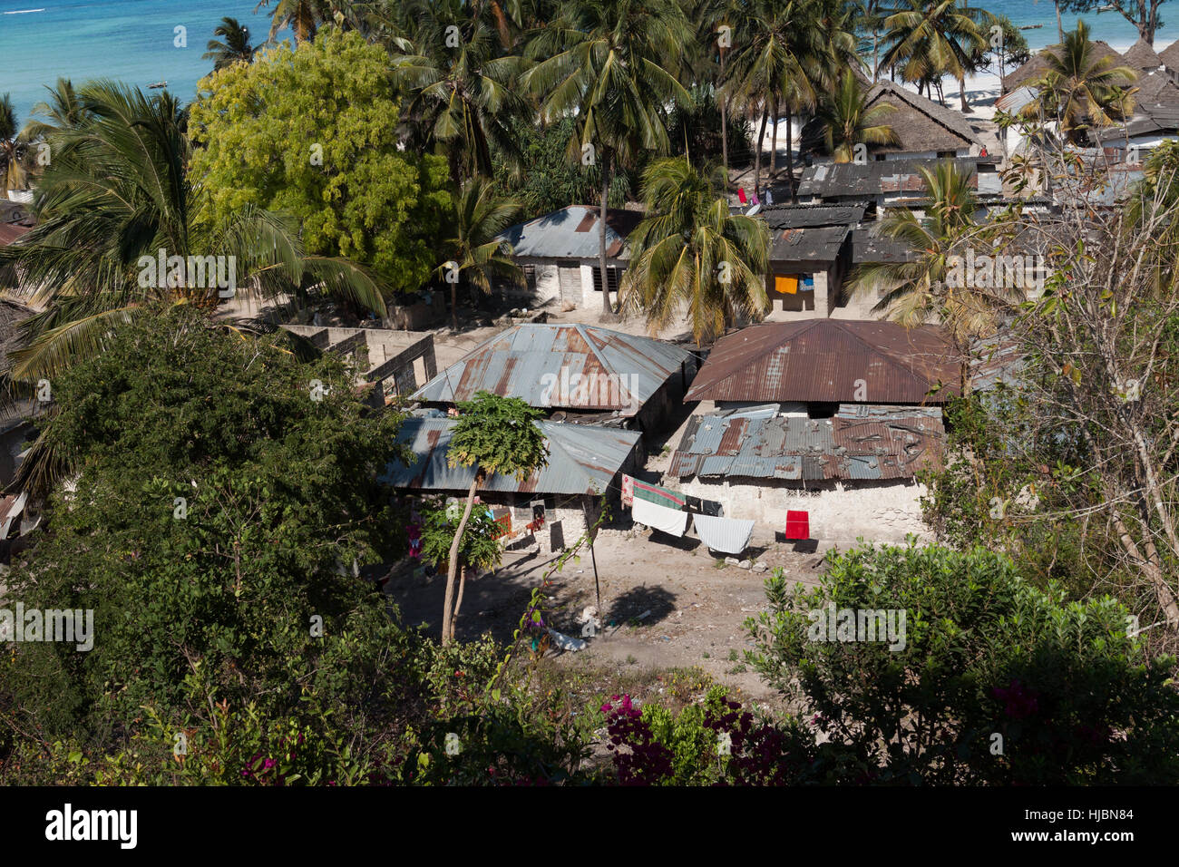Poorest Part Of Coast Village Simple Houses Azure Sea Palms In - Poorest part of africa