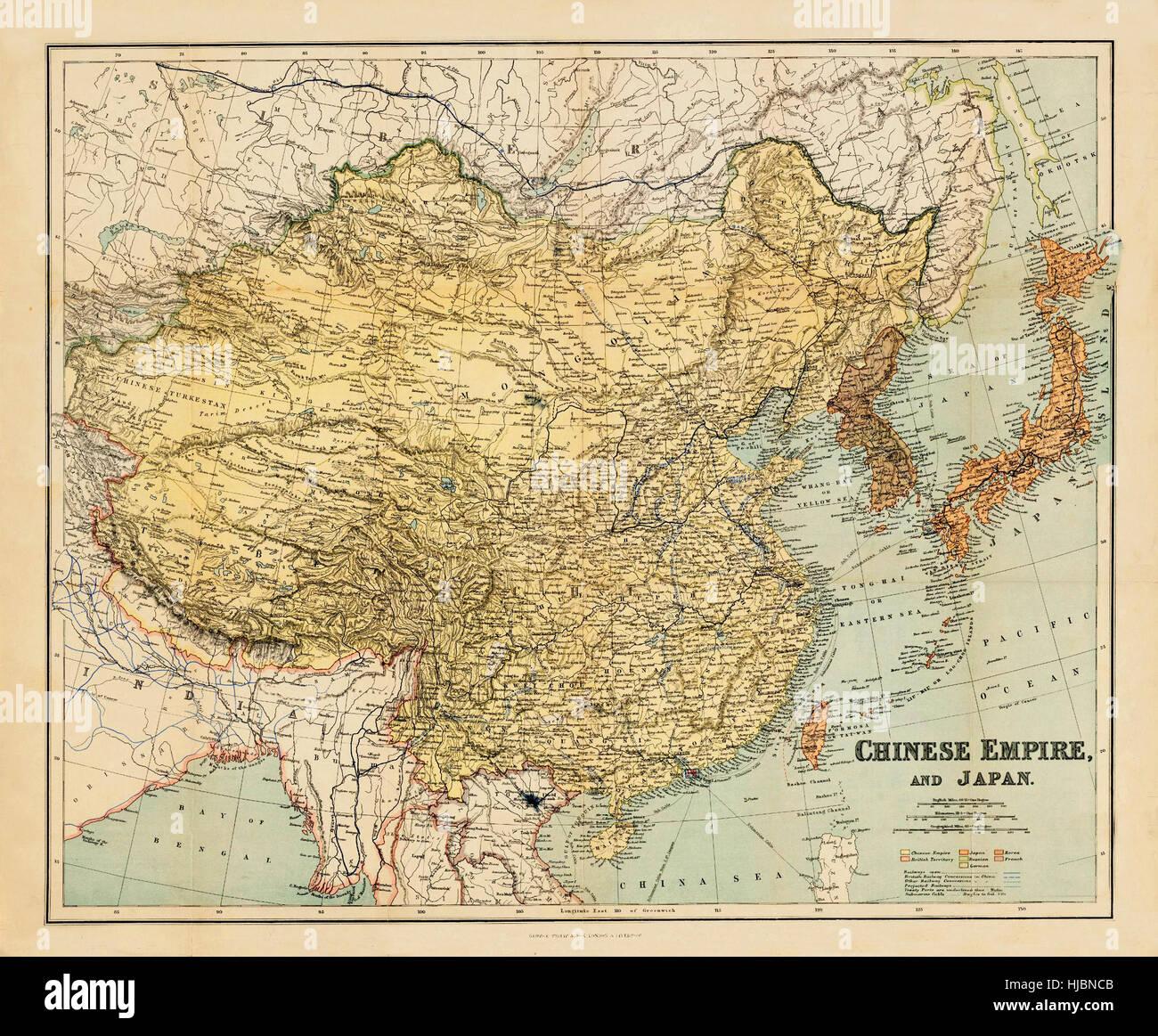 Map Of China Stock Photo Royalty Free Image Alamy - Japan map 1900