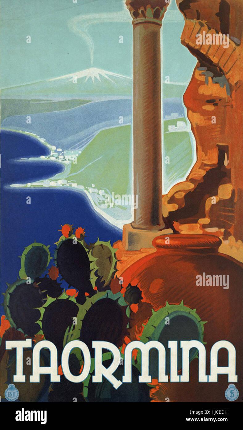 Poster design 1920s - Taormina Vintage Travel Poster 1920s 1940s Stock Image