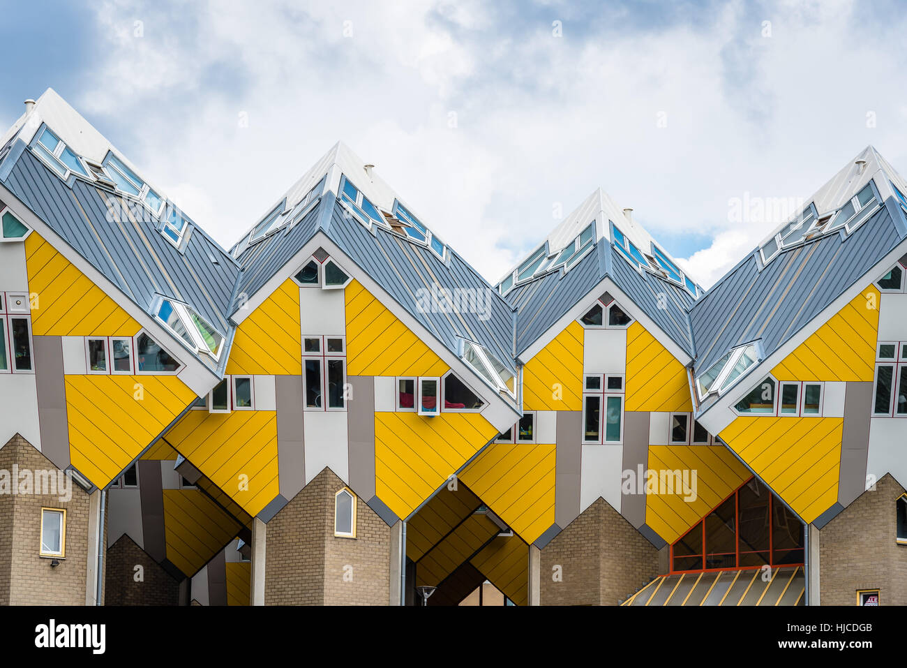 Rotterdam, Netherlands - August 6, 2016: Cube houses designed by ...