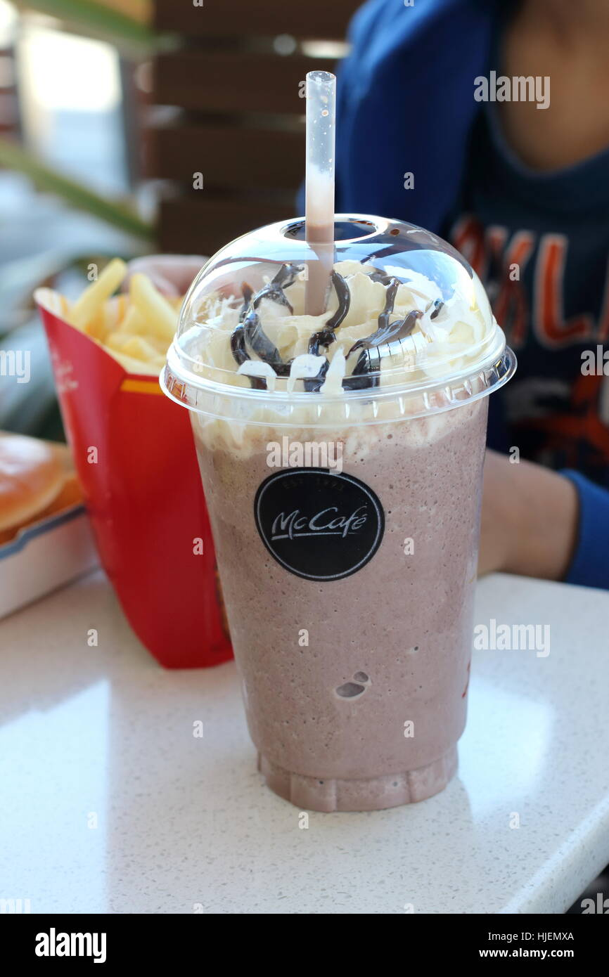 Close up of McDonald's chocolate Frappe and potato chips in Stock ...