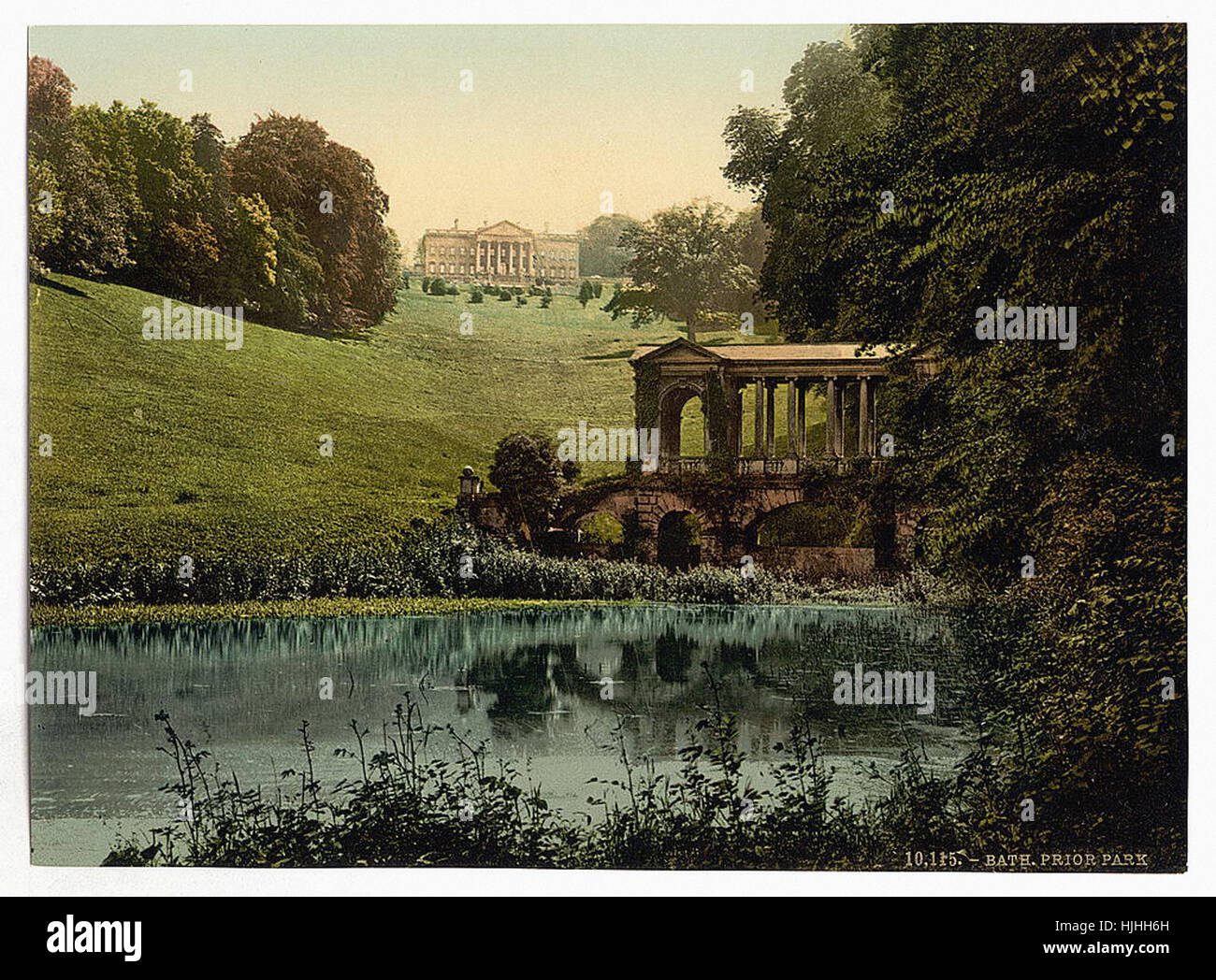 Prior Park College With Palladian Bridge, Bath, England   Photochrom XIXth  Century