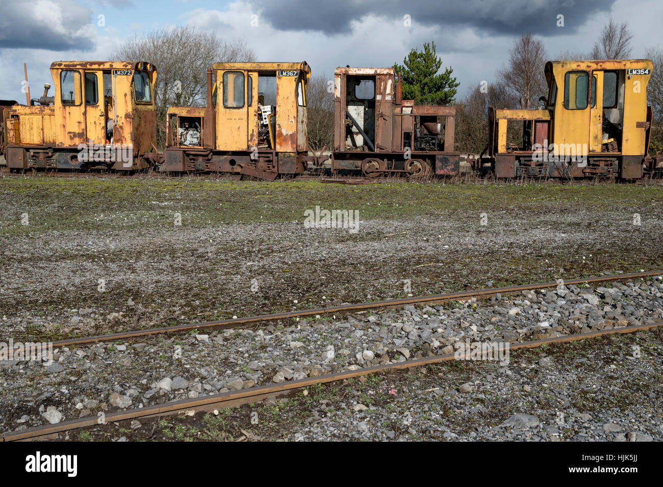 Exhibition of old rusted unused machinery (locomotive and freight ...