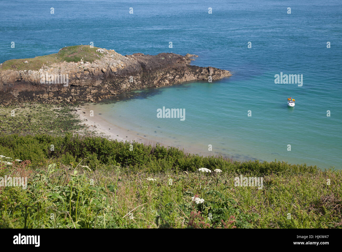 Turboimagehost.com Ls Island Puffin Bay on Herm in the Channel Islands - Stock Image