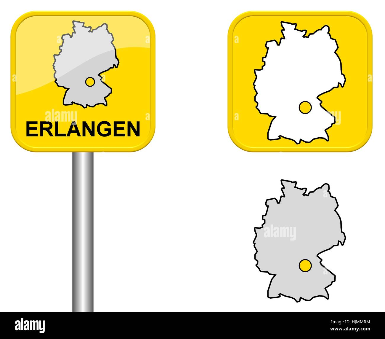 ortsschildgermany map and button of erlangen Stock Photo Royalty