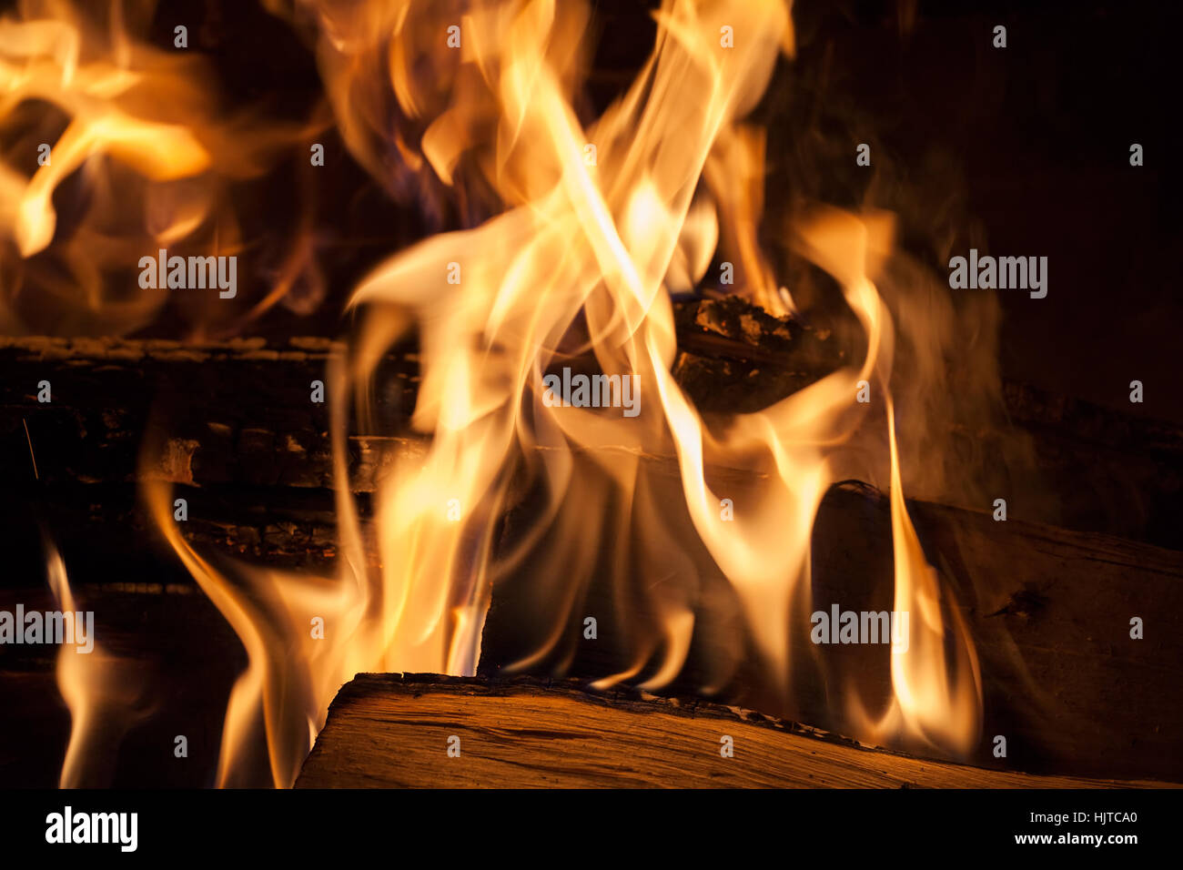 Fire in the fireplace, note shallow depth of field Stock Photo ...