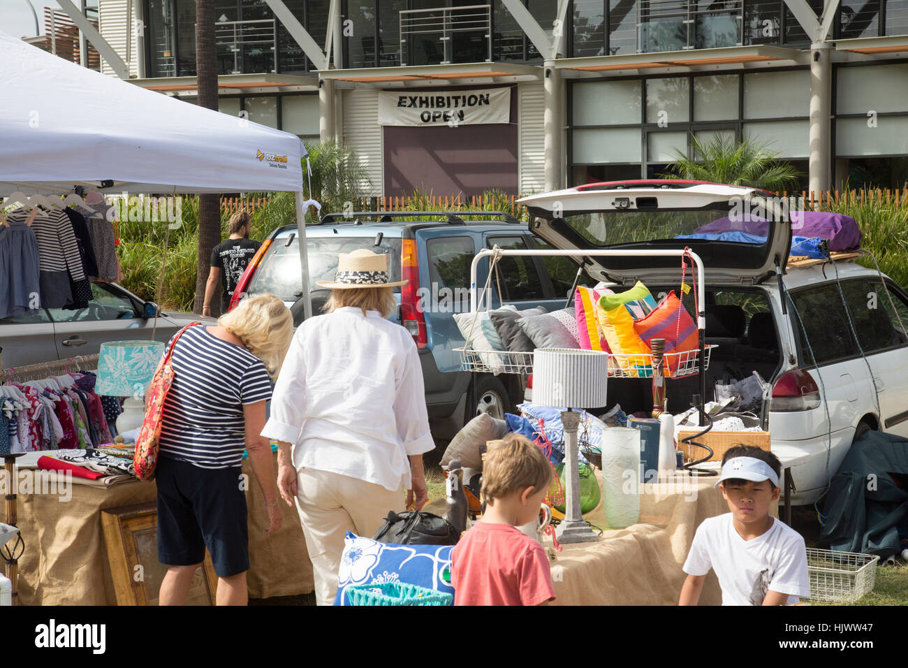 Australian car boot sale taking place at avalon beach in north sydney new south wales