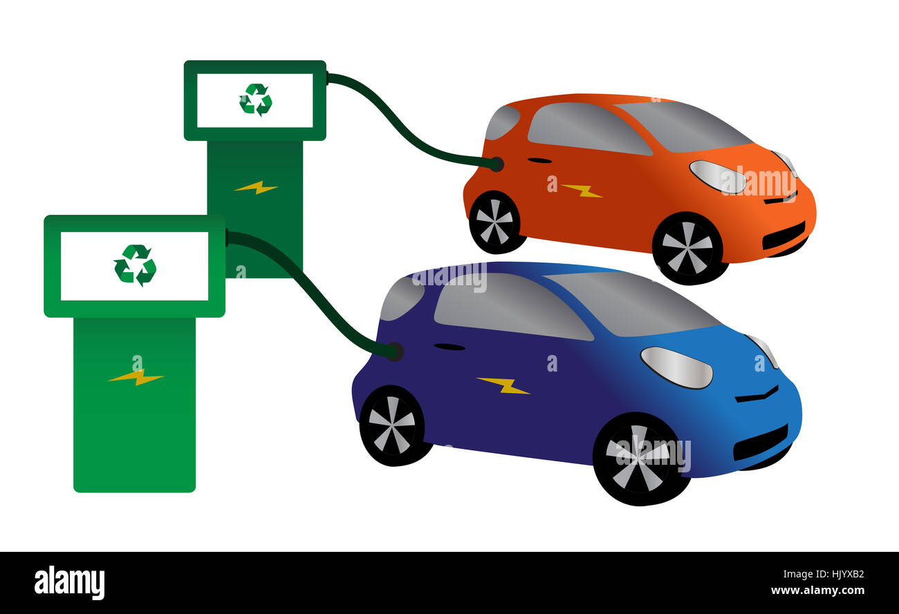 Two Electric Cars Refuelling Isolated On A White Background Stock