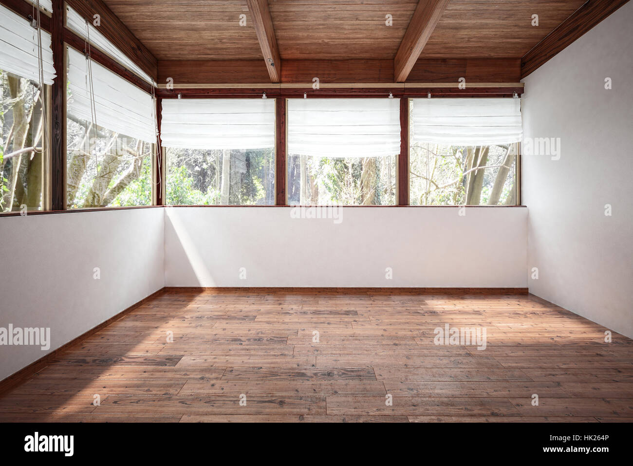 Empty Room With White Walls Wooden Floor And Ceiling With