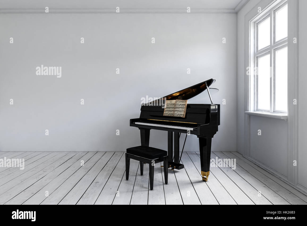 Empty room with chair violin and sheet music on floor photograph - Stock Photo White Room With Black Piano With Chair Standing In Corner Near Bright Window Minimalist Interior Design With Copy Space 3d Rendering