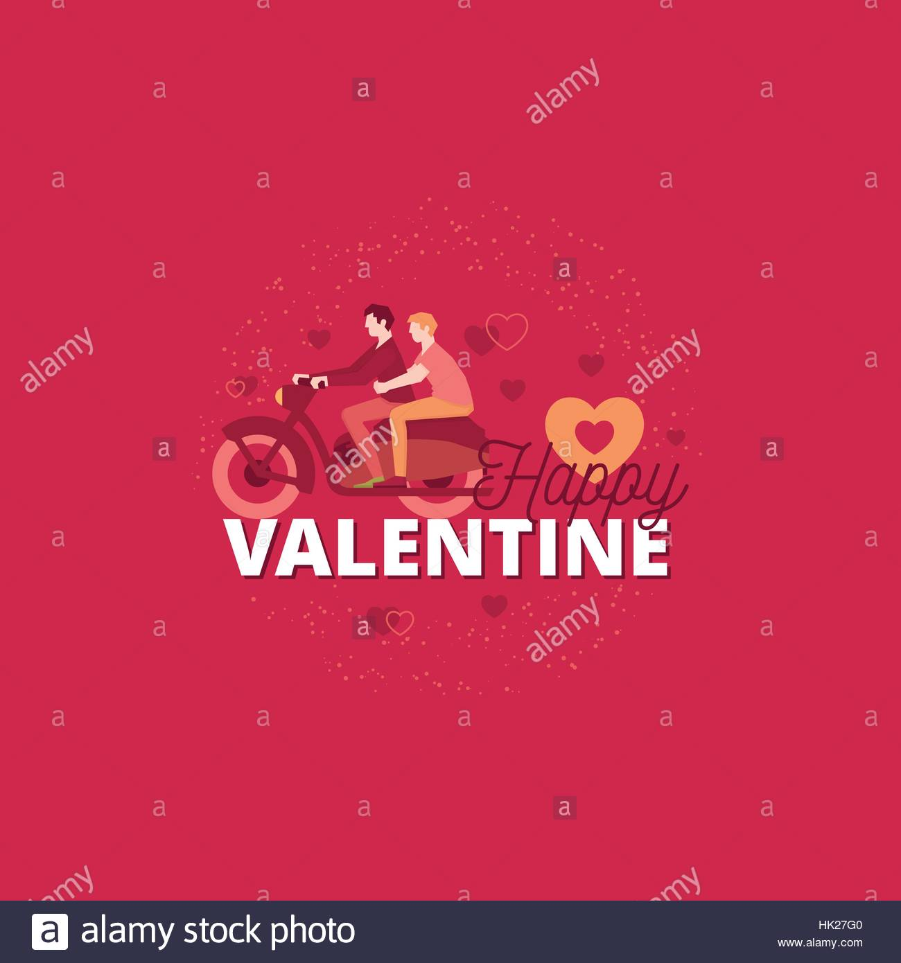 Romantic valentines day design with gay couple Two men riding on – Gay Valentines Card