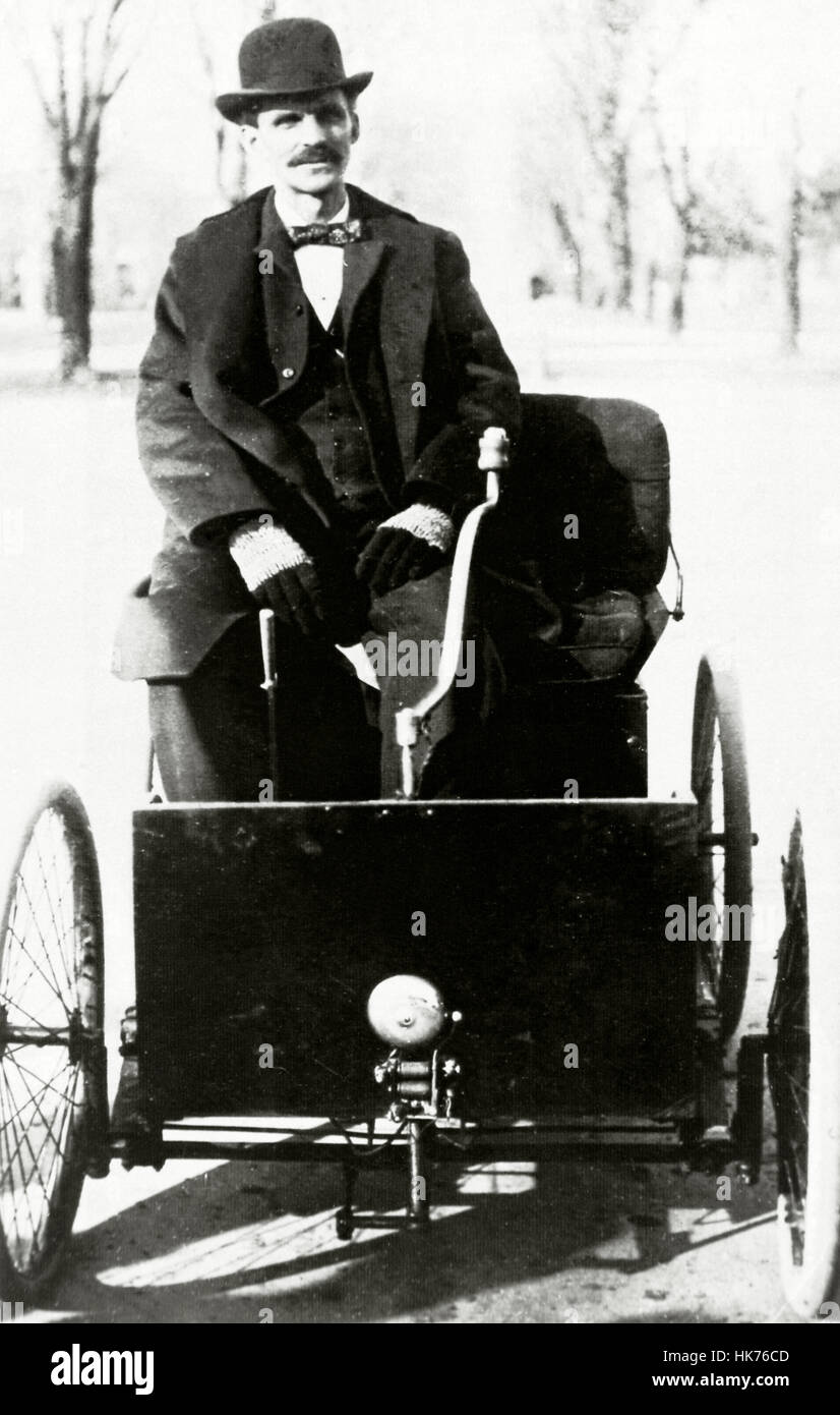 American industrialist founder of the ford motor company in 1903 henry ford with his first automobile 1896