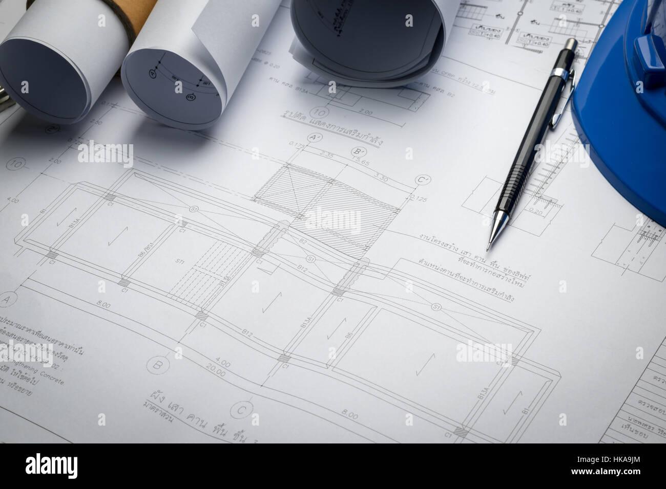 Engineering diagram blueprint paper drafting project sketch stock engineering diagram blueprint paper drafting project sketch architecturalselective focus malvernweather Gallery
