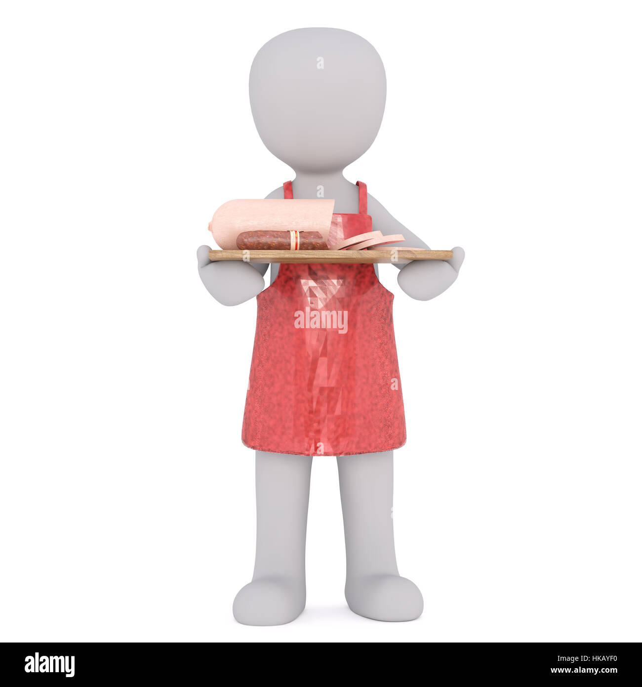 White apron meats - Generic 3d Rendered Cartoon Character Wearing Red Apron And Holding Tray With Variety Of Deli Sliced Meats In Front Of White Background