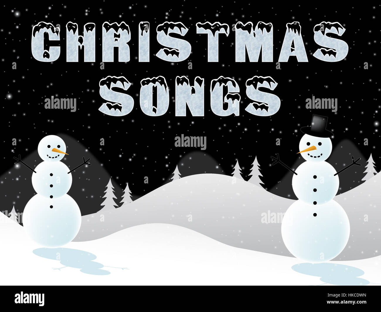 Christmas Songs Snow Scene Shows Xmas Music 3d Illustration Stock ...